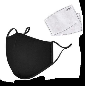Image de Masque noir en  tissus lavable  vient avec 2 filtres au charbon