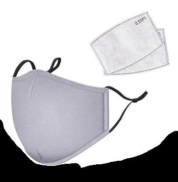 Image de Masque gris  en tissus lavable vient avec 2 filtre au charbon