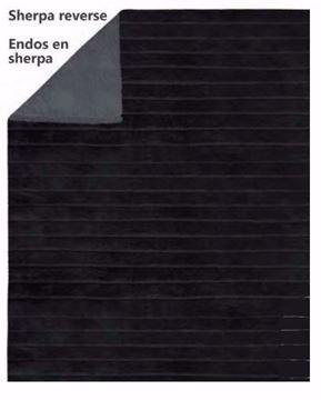 Image de Jeté noire en fausse fourrure endos en sherpa 48 x 60