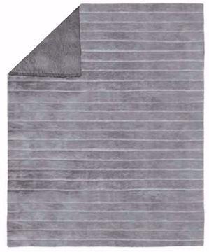 Image de Jeté grise en fausse fourrure endos en sherpa 48 x 60