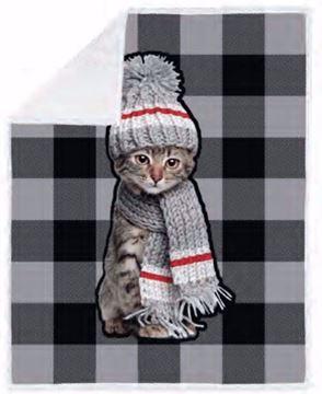 Image de Jeté à  carreaux noirs et gris avec impression chat avec tuque et foulard, endos en sherpa 48x60