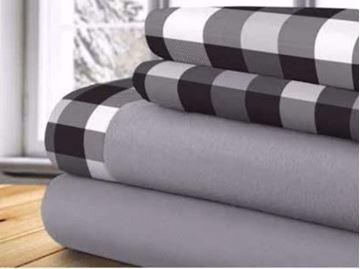 Image de Draps thérapeutique  gris avec motifs à carreaux 100% polyester