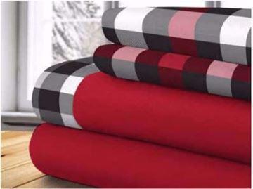 Image de Draps thérapeutique  100 % polyester rouge avec motifs à carreaux